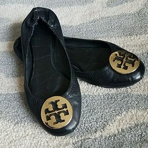 Tory Burch Black Leather Reva Flat with Gold 6